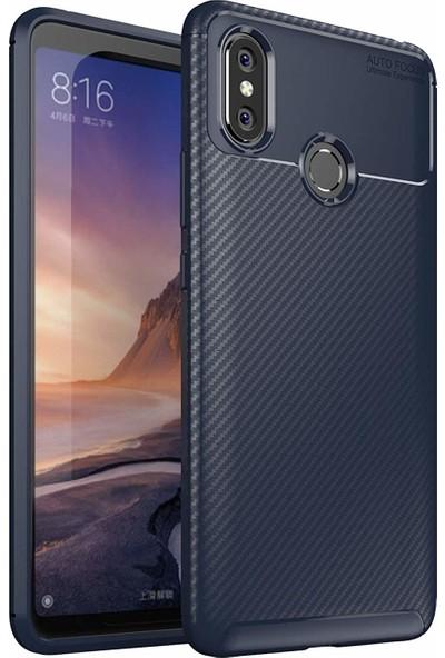 Case 4U Xiaomi Mi Max 3 Kılıf Karbon Desenli Sert Silikon Arka Kapak - Negro - Lacivert