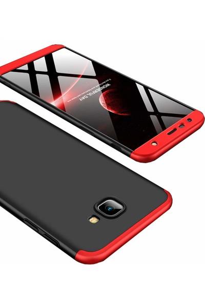 Case 4U Samsung Galaxy J4 Plus Kılıf 360 Derece Korumalı Tam Kapatan Koruyucu Sert Silikon Ays Kılıf - Siyah - Kırmızı