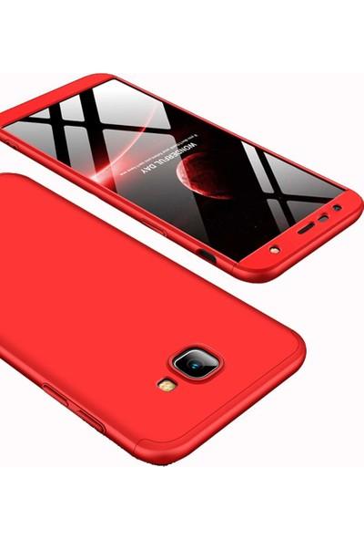 Case 4U Samsung Galaxy J4 Plus Kılıf 360 Derece Korumalı Tam Kapatan Koruyucu Sert Silikon Ays Kılıf - Kırmızı