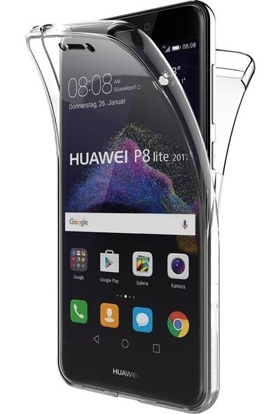 Case 4U Huawei P8 Lite 2017 Kılıf Ön Arka Şeffaf Silikon Koruma