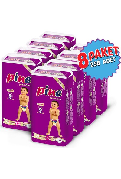 Pine Maxi Plus (9-20 kg) 256 Adet Bebek Bezi