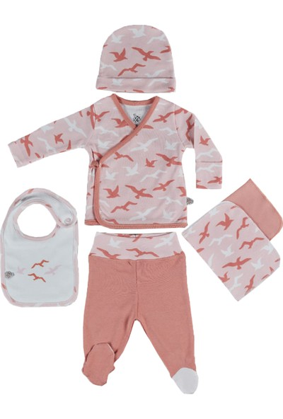 Ecocotton Organik Pamuk 5 Parça Bebek Zıbın Seti - Rosa Beyaz