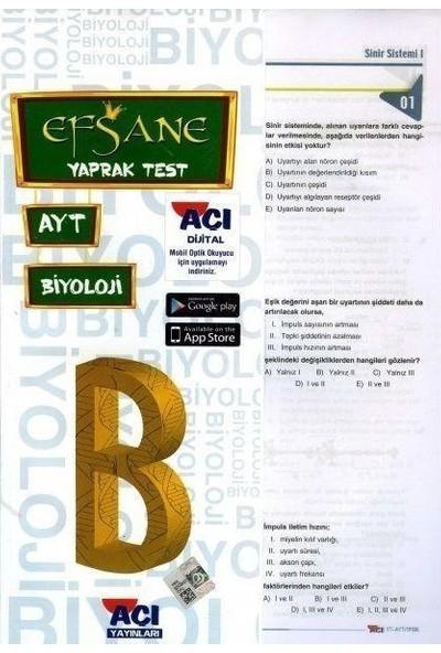 Açı Yayınları Ayt Biyoloji Efsane Yaprak Test