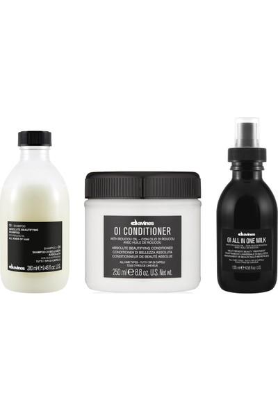 Davines Oi/Oil Sülfatsız Şampuan 280ml + Kremi 250ml + Süt 135ml