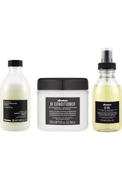 Davines Oi/Oil Sülfatsız Şampuan 280ml + Kremi 250ml + Yağ 135ml