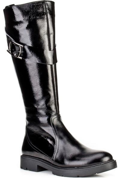 Cabani Kürklü Günlük Kadın Çizme Siyah Rugan Deri