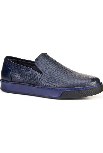 Cabani Lazer Baskı Bağcıksız Günlük Erkek Ayakkabı Lacivert
