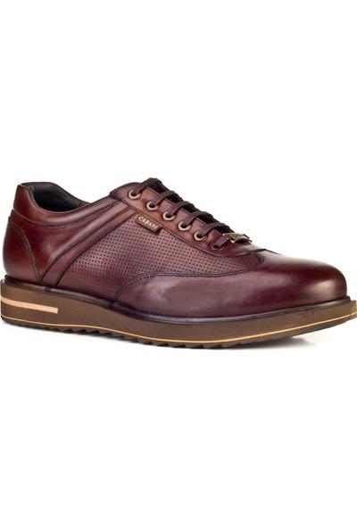 Cabani Lazer Detaylı Bağcıklı Günlük Erkek Ayakkabı Kahve Sanetta Deri