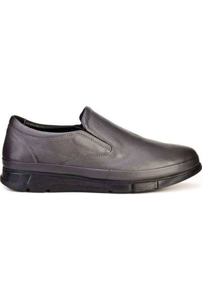 Cabani Bağcıksız Hafif Taban Günlük Erkek Ayakkabı Gri Deri