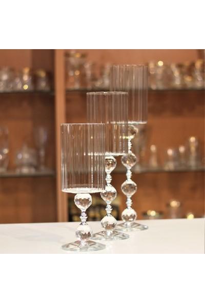 Kristal Galerisi Şamdan Kristal Ayaklı Silindir Gümüş - 3' lü Set