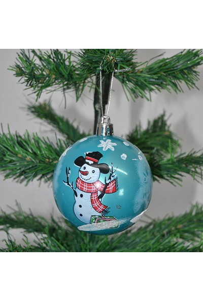 Cansüs 6lı Kardan Adamlı Cici Top Yılbaşı Ağacı Süsü Mavi 8 cm