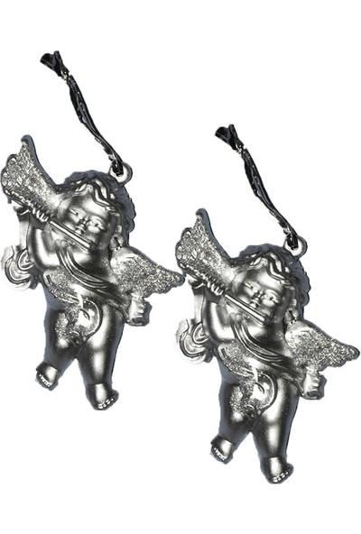 Cansüs 4lü Melek Yılbaşı Ağacı Süsü Gümüş 9x6 cm