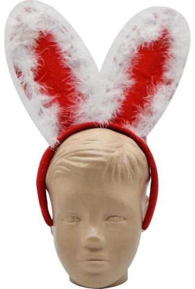 Cansüs Tavşan Kulaklı Tüylü Yılbaşı Parti Tacı Kırmızı