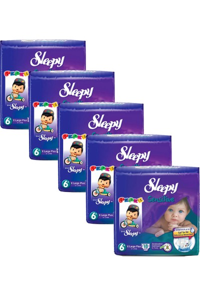 Sleepy Sensitive 6+ X Large Plus 18'li 5'li Set Bebek Bezi 90' lı