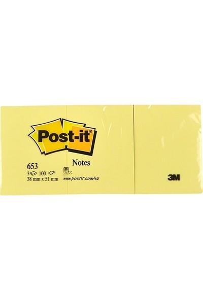3M Post-it 653 Yapışkanlı Not Kağıdı 38 mm x 51 mm Sarı 3x100 Yaprak