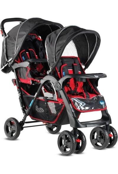 Babyhope İkiz Bebek Arabası P-738 Kırmızı Siyah