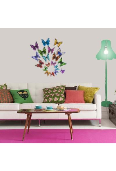 Kelebekler 19 Adet Duvar Süsü 3 Boyutlu