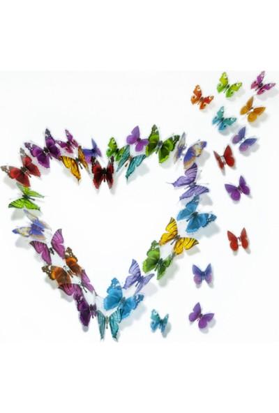 Kelebekler 38 Adet Duvar Süsü 3 Boyutlu