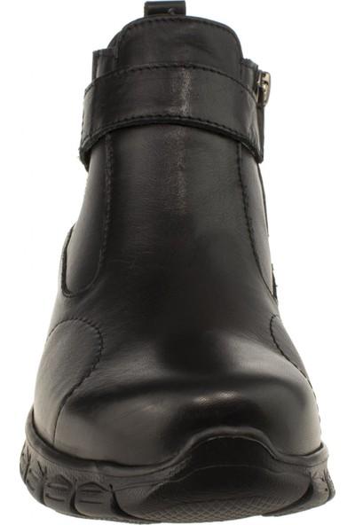 Forelli 61051 Fermuarlı Deri Siyah Kadın Ayakkabı