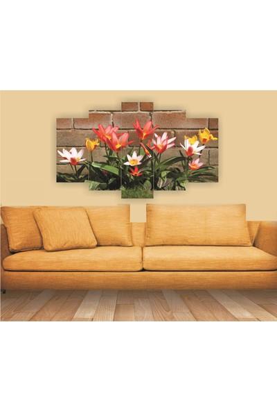 Dekorvia Çiçek Görseli 1 - 5 Parçalı MDF Tablo 100 x 60 cm
