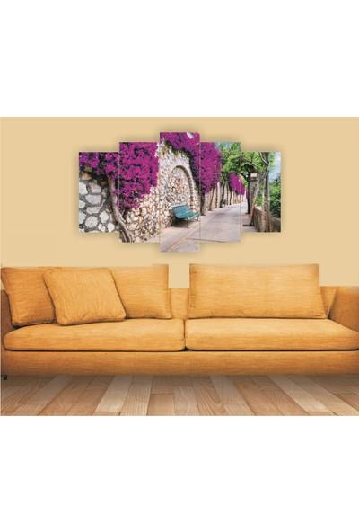 Dekorvia Çiçekli Duvar 4 - 5 Parçalı MDF Tablo 100 x 60 cm
