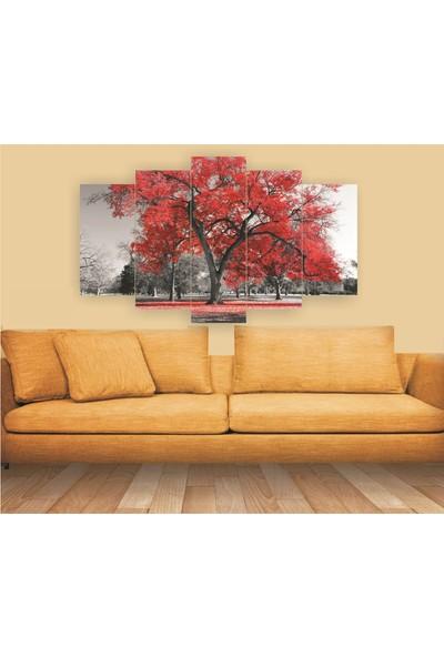 Dekorvia Kırmızı Ağaç 100 - 5 Parçalı MDF Tablo 100 x 60 cm