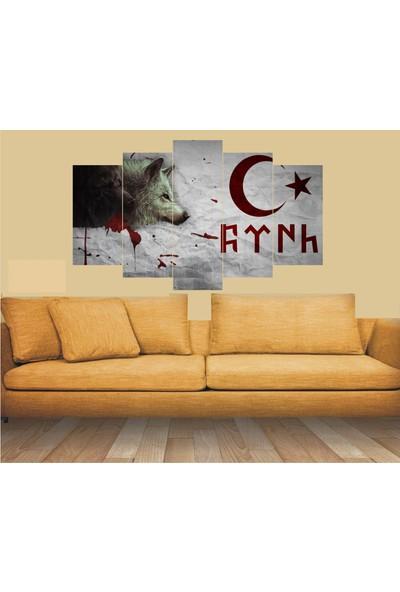 Dekorvia Türk Kurt 20 - 5 Parçalı MDF Tablo 100 x 60 cm