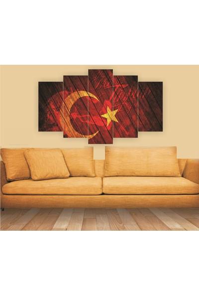 Dekorvia Ne Mutlu Türküm Diyene 16 - 5 Parçalı MDF Tablo 100 x 60 cm