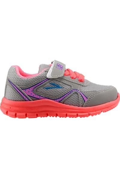 Lig Umay-S Gri Fuşya Günlük Fileli Cırtlı Kız Çocuk Spor Ayakkabı
