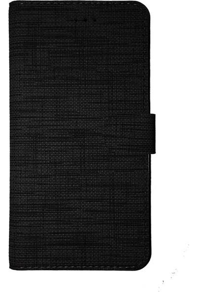 FitCase Samsung A7 2018 (A750) Yan Kapaklı Cüzdanlı Kartlıklı Kılıf Siyah