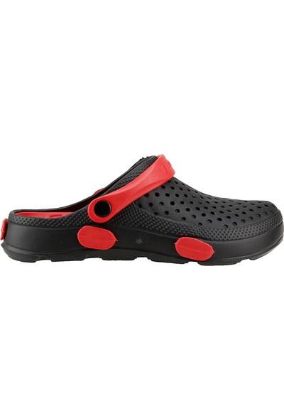Gezer Eva 9624 Siyah Kırmızı Hastane İş Ortopedik Kadın Sandalet Terlik