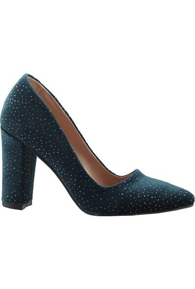 Ayakland 311 Yeşil 9 Cm Kalın Topuk Simli Kadın Stiletto Ayakkabı