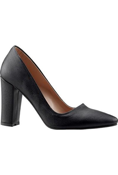 Ayakland 311 Siyah 9 Cm Kalın Topuk Çupra Kadın Stiletto Ayakkabı