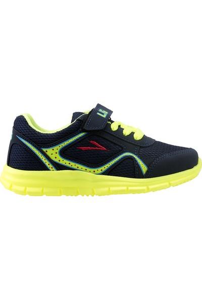 Lig Umay Lacivert Sarı Günlük Cırtlı Fileli Erkek/Kız Çocuk Spor Ayakkabı