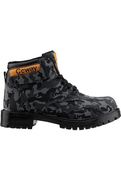 Ccway Siyah Kamuflaj Erkek Çocuk Termal Astarlı Bot Ayakkabı