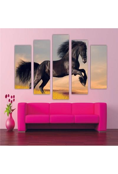 Dekorvia Siyah At 1- 5 Parçalı MDF Tablo 100 x 60 cm