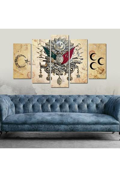 Dekorvia Hilal Osmanlı Bayrağı 34 - 5 Parçalı MDF Tablo 100 x 60 cm
