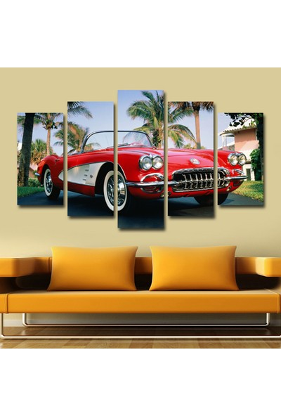 Dekorvia Arabalı Görsel 185 - 5 Parçalı MDF Tablo 100 x 60 cm