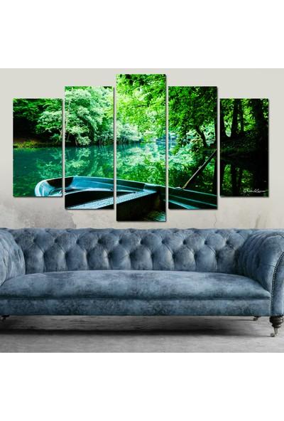Dekorvia Yeşil Göl 136 - 5 Parçalı MDF Tablo 100 x 60 cm