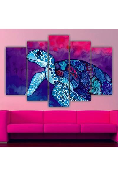 Dekorvia Kaplumbağa - 5 Parçalı MDF Tablo 100 x 60 cm