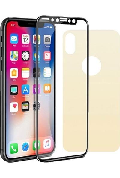 Dafoni iPhone XS Max Ön + Arka Curve Tempered Glass Premium Gold Cam Ekran Koruyucu