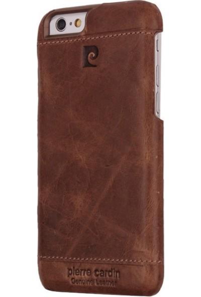 Pierre Cardin iPhone 6/6S Plus Klasik Deri Arka Kapak PCL-P03 Taba