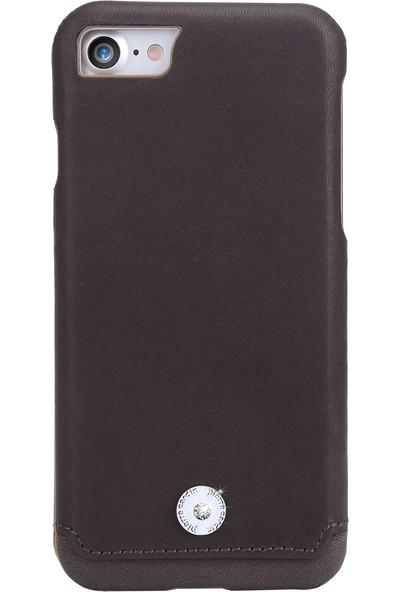Pierre Cardin iPhone 7/8 Taşlı Deri Arka Kapak PCL-P21 Kahverengi