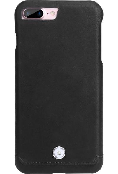 Pierre Cardin iPhone 7/8 Plus Taşlı Deri Arka Kapak PCL-P21 Siyah