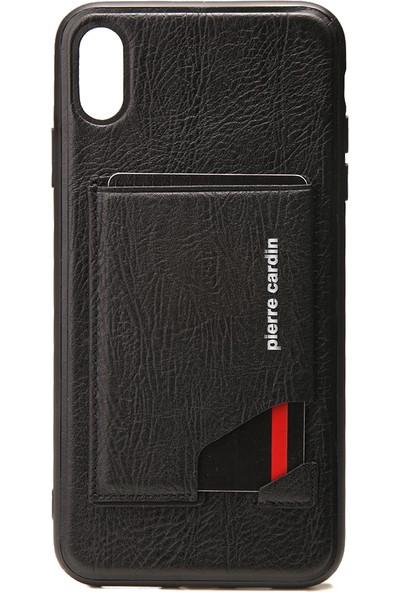 Pierre Carsin iPhone XS Max(6.5) Stand,Kart, Yan Silikon Koruma Deri Kılıf PCS-S03 Siyah