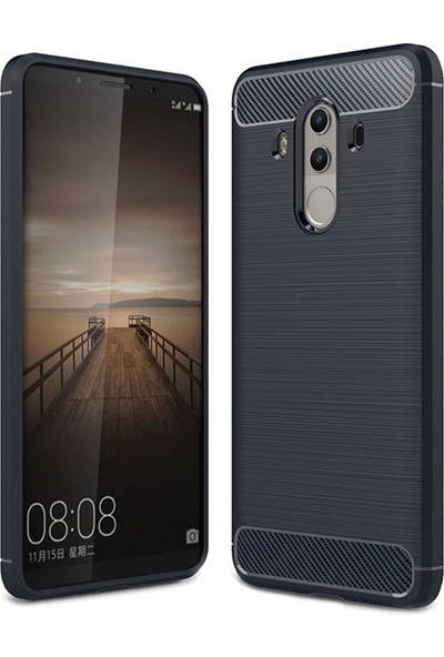 Kılıfist Huawei Mate 10 Pro Kılıf Karbon Fiber Room Silikon Kapak Kılıf Lacivert