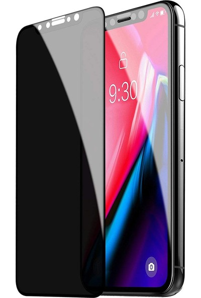 Eiroo iPhone XR Privacy Tempered Glass Premium Cam Ekran Koruyucu Siyah