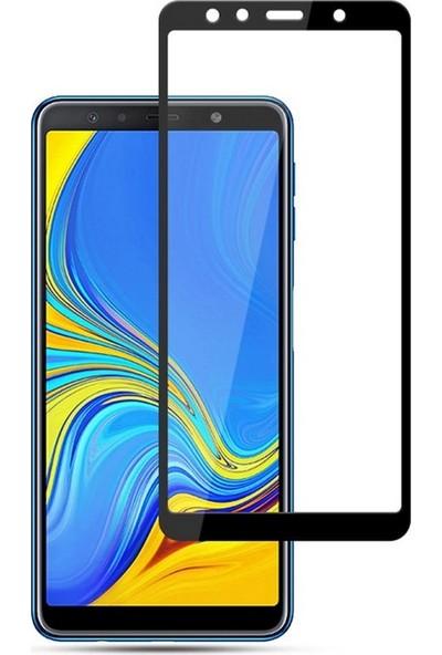 Smody Samsung Galaxy A7 2018 5D Cam Tam Ekran Koruyucu Çerçeveli Cam Full Ekran Siyah
