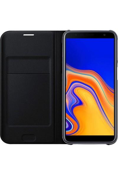 Smody Samsung Galaxy J6 Plus 2018 Flip Cover Kapaklı Kılıf J610F Siyah + Esnek Nano Cam