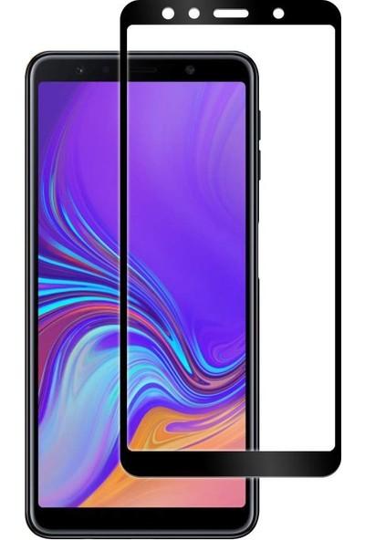 Eiroo Samsung Galaxy A7 2018 Curve Tempered Glass Full Siyah Cam Ekran Koruyucu
